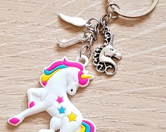 Handmade Personalised Cartoon Soft Rainbow Unicorn with Initial Feather & Silver Unicorn Charms Keyring Bag Charm