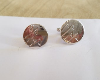 Vintage Swank Cuff Links in Silver Tone and Abstract Design