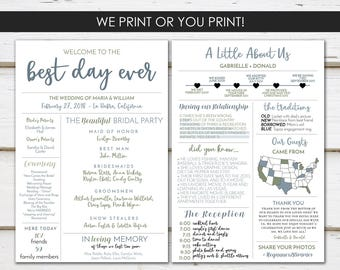 Fun Infographic Wedding Program, Unique Wedding Program, Fun Program, Modern Program, Entertaining, Fun Facts, Printable or PRINTED, MB236