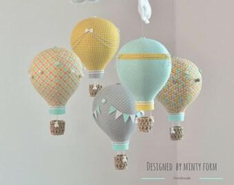 Mint Yellow Gray Orange White Hot Air Balloon Mobile Travel Theme Nursery Decor Custom Mobile World Map