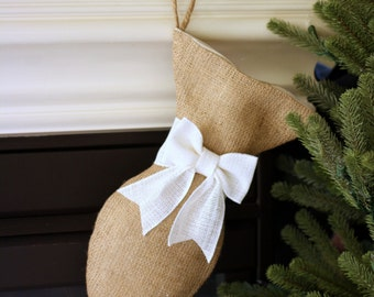 Burlap Cat Christmas Stocking with Optional Bow - Pet Stocking