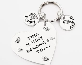 Nanny gift etsy nanny gift this nanny belongs to personalised hand stamped keyring can be with mummy mum grandma negle Images