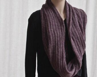 IN STOCK Cowl Hoodie Infinity Shawl in Heathered Purple Shetland Wool