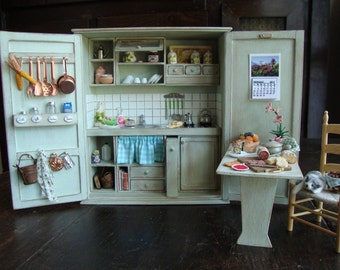 Last cabinet  to a limited edition of 30 pcs. Miniature Tuscan style kitchen cabinet 1.12 scale walnut wood decorated shabby chic green