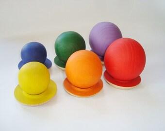 Sorting balls. Balancing balls. Wood rainbow balls. Wooden toys.