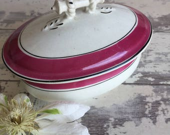 """Antique Ironstone Serving Dish Pink Lustre Trim """"Warranted Stone China"""" Soap Dish"""