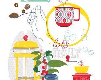 Coffee print, kitchen art print, Coffee Lover Gift, Kitchen Art, coffee art - Kitchen Print - typography - Coffee bar art