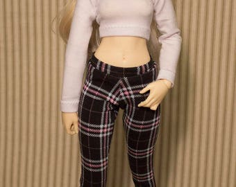 Pink black and turquoise plaid legging for minifee and slim msd