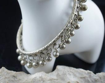 Anklet STERLING SILVER 925 Silver Gypsy Bells Silver bangle Leg Foot women gift elegant Art Deco  jewelry st80