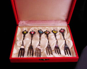 Vintage german souvenir fork set / Hor D'Oeuvres / enamel forks / serving pieces / boxed set