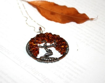 Amber Tree of Life Pendant,mothers gift, tree of life necklace, tree of life jewelry, family tree, Mother, Autumn tree, linegae gift,