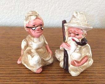 "Vintage Salt & Pepper Shakers  OLD MAN/WOMAN 2.5"" Tall Each"