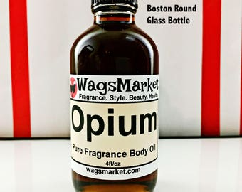 Opium, 4oz Glass Bottle, Pure Fragrance Body Oil, Perfume Oil, Free Shipping in US.