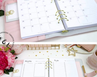 Printed A5 Monthly planner, 2018 Planner, Agenda 2018, Month on two pages, 2018 Planner Inserts, A5 planner inserts, A5 Planner Refill
