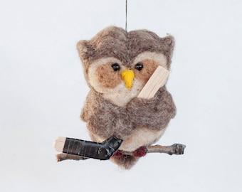Needle Felted Owl - Holding Hockey Stick