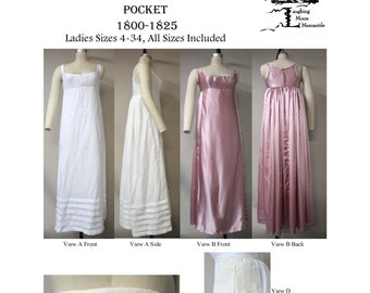 LM132 - 1800 - 1825 Ladies' Regency Bodiced Petticoat, Bum Roll & Pocket Sewing Pattern by Laughing Moon