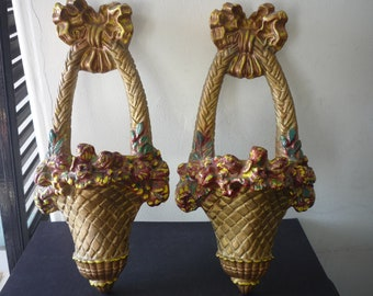 Chalkware Flower Basket Wall Pockets Pair  1950s  - Gold Red Green Painted Chalkware Shabby Chic