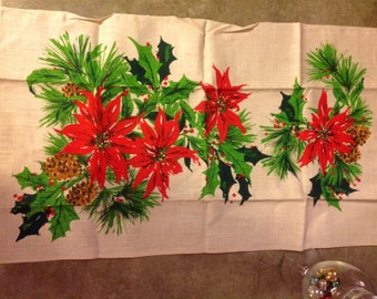Vintage linen Christmas poinsettia and holly tea towel