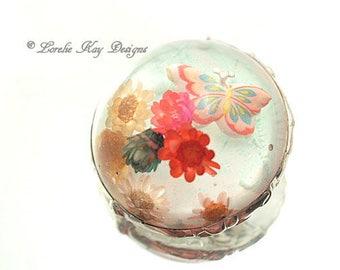 Butterfly Garden Brooch Soldered Dried Flowers Resin Dome Brooch Bubble 3D Resin Lorelie Kay Original
