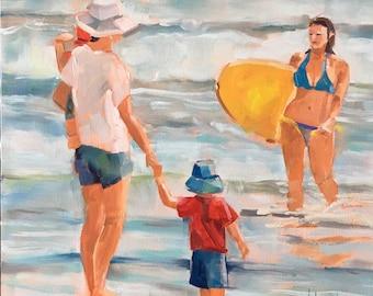 Mother Children Surfer Beach Scene, Original Oil Painting by Bridget Hobson, 8x8 inch