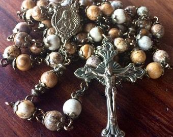 Handmade rosary with picture jasper gemstone beads, Sacred Heart/Holy Family bronze center and sunburst bronze ornate crucifix