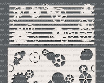 Mixed Media Duo Stencils Stripes & Gears ~ Paperbabe Stamps - Laser Cut Mylar Stencils - For Mixed Media, Paper crafting and scrapbooking.