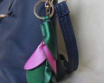 Flower Bag Charm, Flower keyring, Flower Keycharm, PU leather Flower Bag Charm, Hanging floral leather gift, pendant flower bag charm, gift