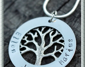 Family Tree Personalized Hand Stamped Necklace