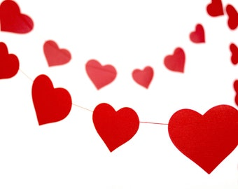 Red hearts garland, 8 feet red paper heard banner, photo prop