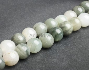 B250 Natural Green Spectrolite Beads, Round 4 6 8 10 12mm Loose Gemstone Spacer Beads Strands in Bulk Wholesale