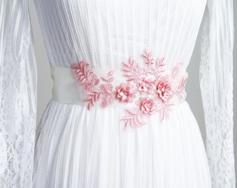 Bridal Sash Belt - Wedding Dress Sashes Belts - Pink Flower Embroidery Lace Ribbon Belt Wedding Gift For Bride