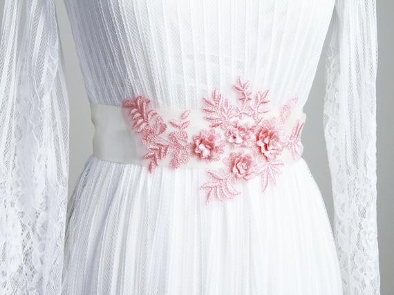 Unique Wedding Dress Sashes Belts: Bridal Sash Belt Wedding Dress Sashes Belts Pink Flower