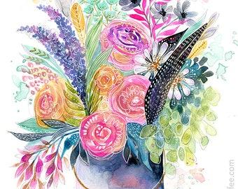 Zinn Eimer Bouquet - Druck - Blumen Aquarell, Blumenkunst, Feminine Art, Mädchen Kunst, Natur-Kunst