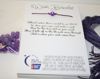 Relay For Life Wish Bracelet - Fundraising DIY pack to make 100 - Ready to go with FREE domestic shipping