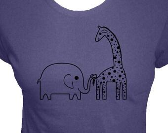 Elephant and Giraffe Shirt - Ellie Elephant and Ginnie Giraffe - 3 Colors - Womens Organic Bamboo and Cotton Shirt - Gift Friendly