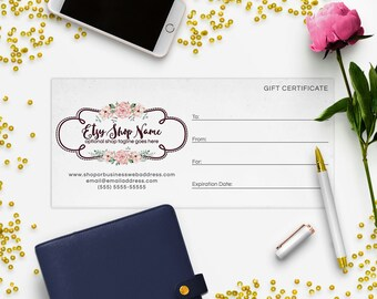 Gift Certificate Printable - Gift Certificate Download - Printable Gift Certificate  Logo Style - 2-16IL
