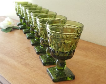 Green Colony Park Lane Glass Goblet Cordials by Indiana Glass Co Set of 8 Avocado Goblets Mid Century Kitchen and Barware
