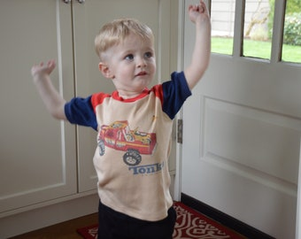 Vintage 1980s Tonka Truck Youth Shirt!!! Kid's Pickup Toy Ringer Tee!!!