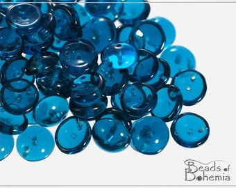 30 pcs Transparent Capri Blue 2 Hole Czech Piggy Beads 8x4 mm (8373)