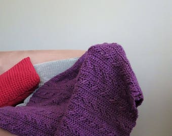 Handmade Purple Crcohet Blanket, Lounge room Throw, Boho Home Decor, Cross stitch Crochet Lapghan, Warm Lap Rug,