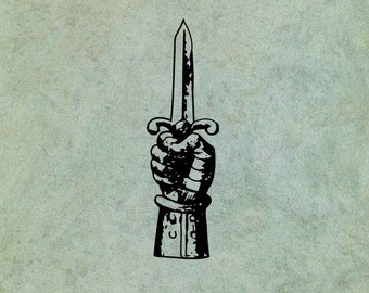 Hand Holding Dagger - Antique Style Clear Stamp
