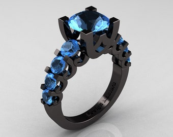 Modern Vintage 14K Black Gold 3.0 Carat Blue Topaz Designer Wedding Ring R142-14KBGBT