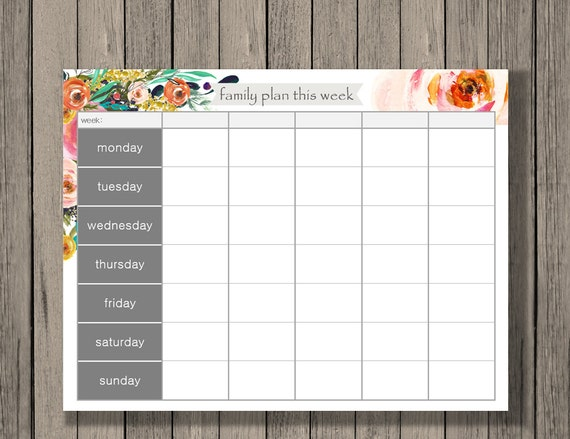 Weekly Calendar Printable Family Plan Printable Schedule