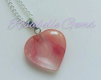 Cherry Quartz, Necklace, Heart Pendant, Gemstone Jewelry, Cherry, Quartz, Cherry Quartz Necklace, Heart Necklace, Gift For Her, Pink, Heart