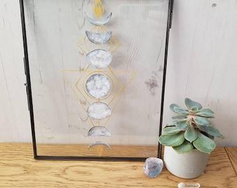 Moon Phases - Watercolour and Ink Papercut - Boho Home Decor -Lunar Art - Geometric - Minimalist Home Decor