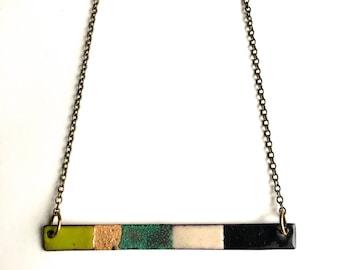 Reversible Enamel Rectangle Necklace