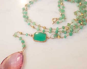 Long Beaded Green Chrysophrase and Pink Quartz Pear Drop Necklace, Gift for Her, Bridesmaid Gift, Boho Necklace