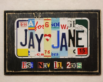 First Names with 7 Characters and Date Wedding Anniversary Gift Custom Made to Order License Plate Art Sign Plaque