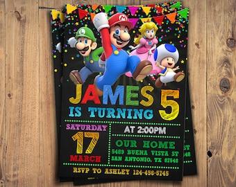 Mario Chalkboard Invitation, Super Mario Party Digital Invitation, Super Mario Invitation, Super Mario Birthday Party Invite, Custom Card