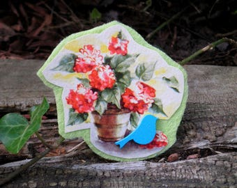Vintage Flowers Handmade Floral Brooch - Red Hydrangeas & Blue Bird Up-cycled Paper Ephemera Felt Art Pin - Retro Flower Garden Jewelry Gift